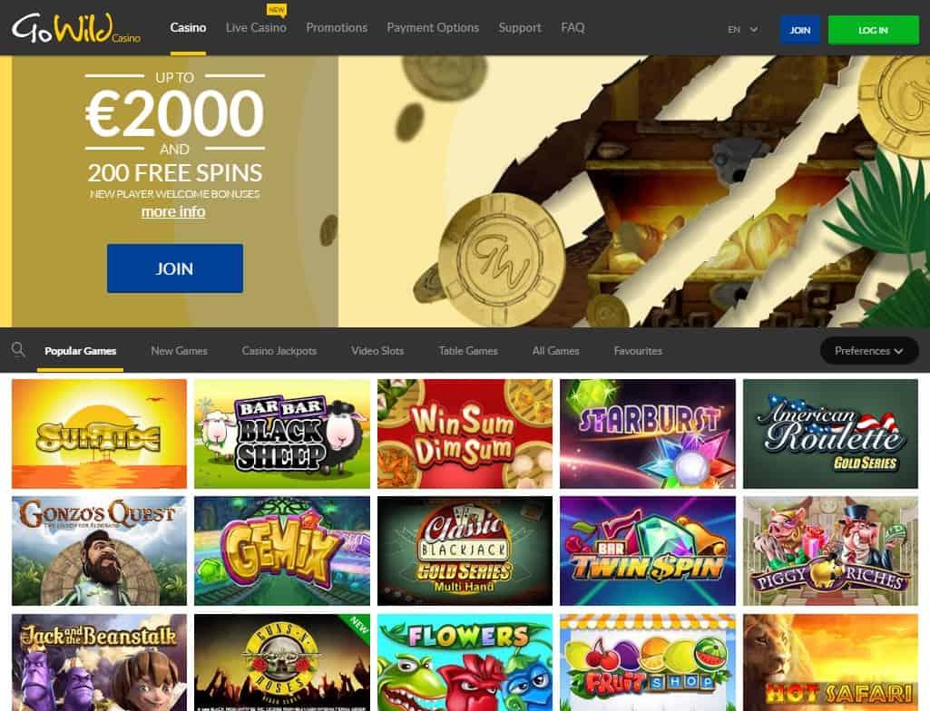 GoWild Casino $2000 bonus and 200 free spins