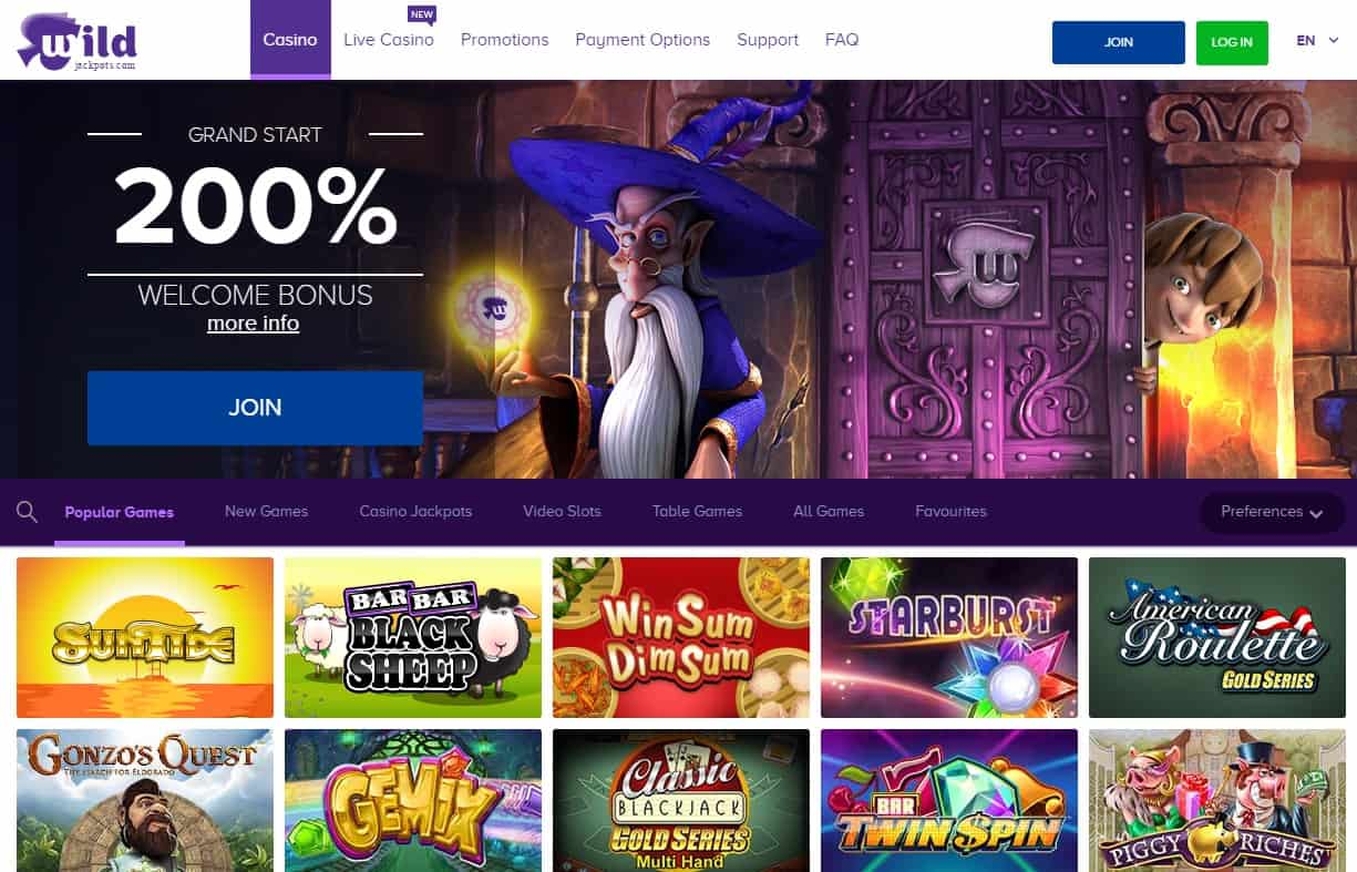 Wild Jackpots Casino Review: 200% bonus and 300 free spins