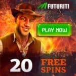 Futuriti Casino - 20 free spins and €50 no deposit bonus