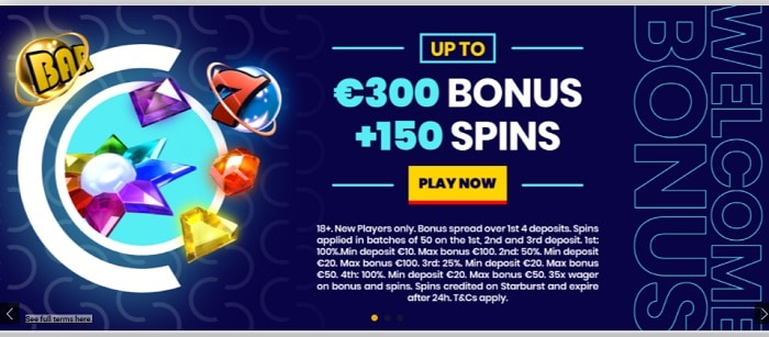 150 free spins in welcome bonus