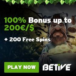 Betive Casino Free Bonus: 2000€ gratis + 200 freispiele