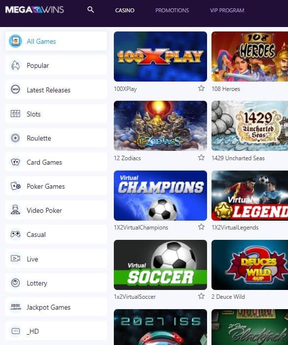 MegaWins Casino Online Free Spins Bonus