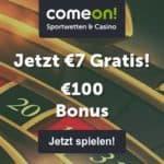 ComeOn Casino 7€ gratis freispiele - free spins bonus without deposit