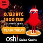 Oshi Casino with Bitcoins: 0.133 BTC or 1400€ bonus + 299 free spins