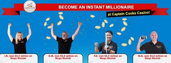 Captain Cooks Casino winners