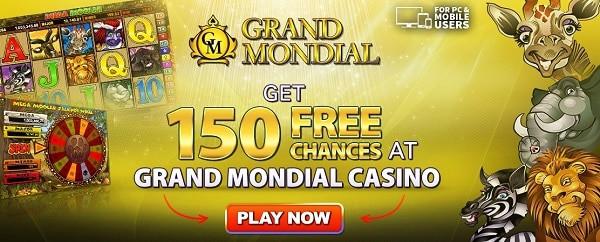 Grand Mondial Casino 150 free spins on Mega Moolah jackpot