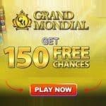 Grand Mondial Casino 150 FREE spins chances to win Mega Moolah