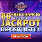 Zodiac Casino 80 free spins chances to win Jackpot for €1 deposit!
