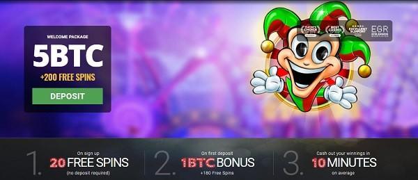 Free Spins Offer: 20 FS + 180 FS + 5 BTC