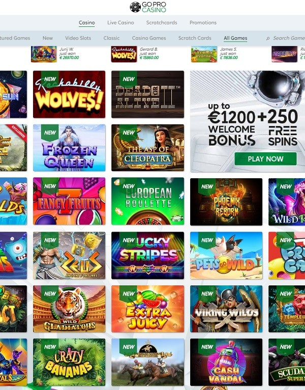 GoPro Casino mobile games