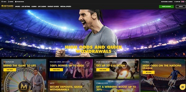 Bethard Casino, Sports, Live Dealer