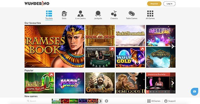 Wunderino Casino gratis games