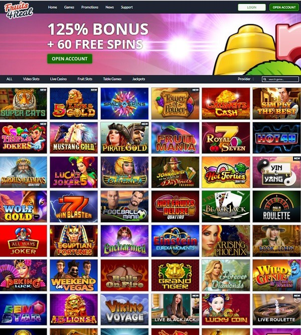 Fruit 4 Real Casino 125% bonus and 60 gratis spins