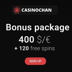 CasinoChan 120 Freispiele und €400 Willkommensbonus
