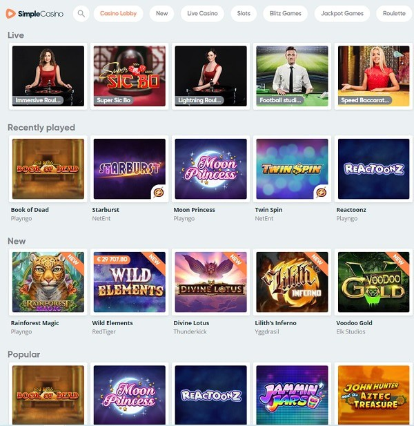 Best Slots, Table Games, and Live Dealer - SimpleCasino.com