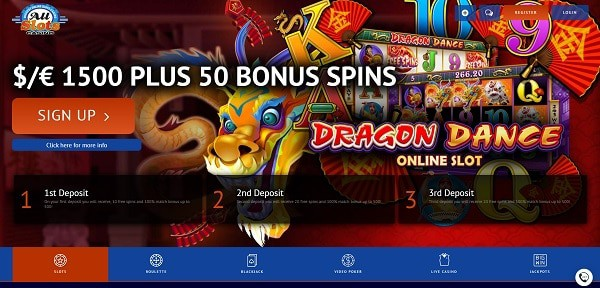 €1500 welcome offer and 50 free spins on Dragon Dance in bonuses