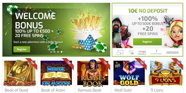10 EUR no deposit + 20 free spins + 100% welcome bonus
