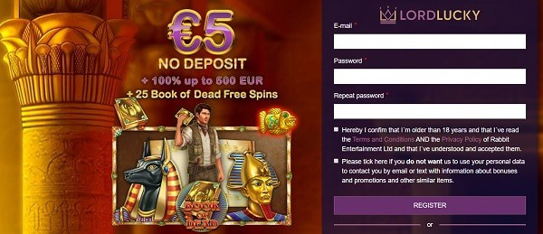 5 EUR free bonus on registration