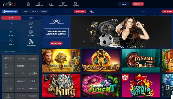 Casino Z welcome bonus and free spins