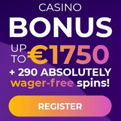 290 free spins and 1750 free bonus on deposit. No wager!