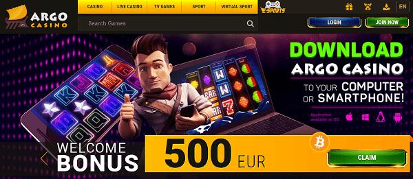 Argo Casino 500 EUR free bonus