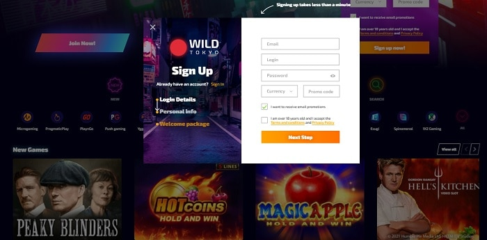 Open your account with WildTokyo.com